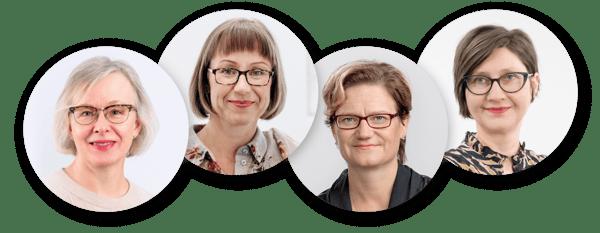 Henkilökuvat Jaana Laitinen, Anniina Ropponen, Tiina Santonen, Anna-Maria Teperi.