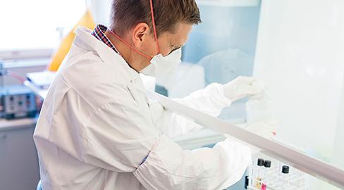 A male laboratory worker