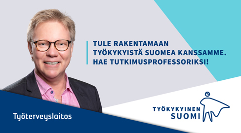 Kuvassa mies ja teksti: Tule rakentamaan työkykyistä Suomea kanssamme.